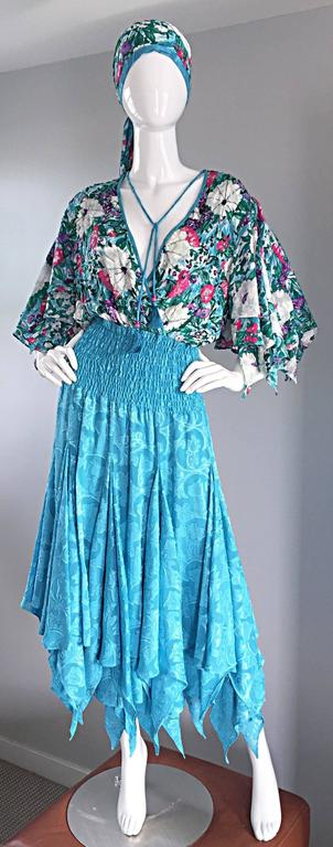 Blue Amazing Vintage Diane Freis Colorful Beaded Boho Dress w/ Head Scarf  For Sale