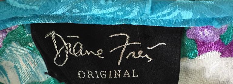 Women's Amazing Vintage Diane Freis Colorful Beaded Boho Dress w/ Head Scarf  For Sale
