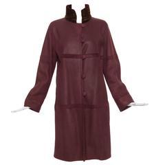 Oscar De la Renta Couture Plum Shearling Coat