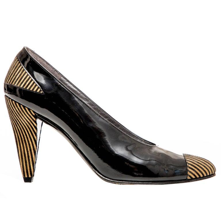 Charles Jourdan Black Patent Leather Striped Silk Faille Cone Heels, Circa 1980s