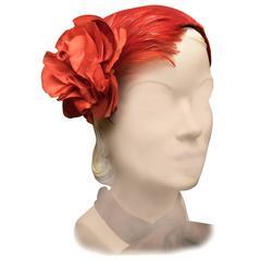 1950s Red Velvet Cocktail Hat
