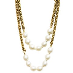 CHANEL Goldtone Necklace W. Two Faux Pearl Sections 1984
