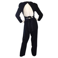 Rare Vintage Geoffrey Beene ' Open Back ' Black Long Sleeve Jumpsuit Onesie