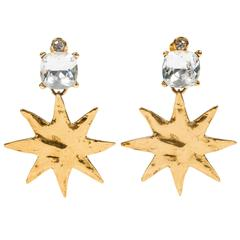Frolicsome Vintage Gilt & Rhinestone Star Ear Clips by Yves Saint Laurent