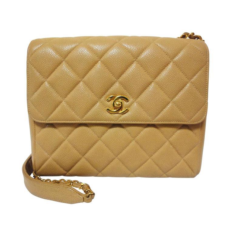 Vintage Chanel classic beige caviar leather 2.55 square shape ...