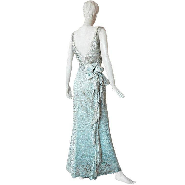 John Galliano Gloriously Gatsby for House of Dior Chantilly Lace Evening Dress