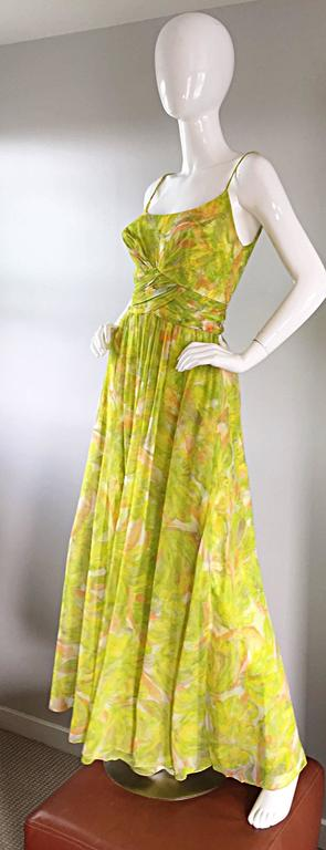 Amazing 1970s Joseph Magnin Chartreuse Green Chiffon 70s Vintage Maxi Dress Gown For Sale 3