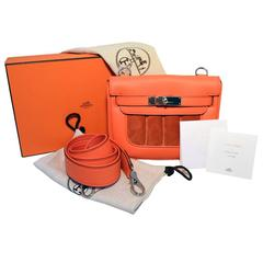 Hermes Orange Suede and Swift Leather Berline Bag-RARE
