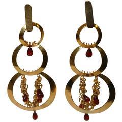 Vintage Herve van der Straeten Hammered Gold and Garnet Statement Clip Earrings