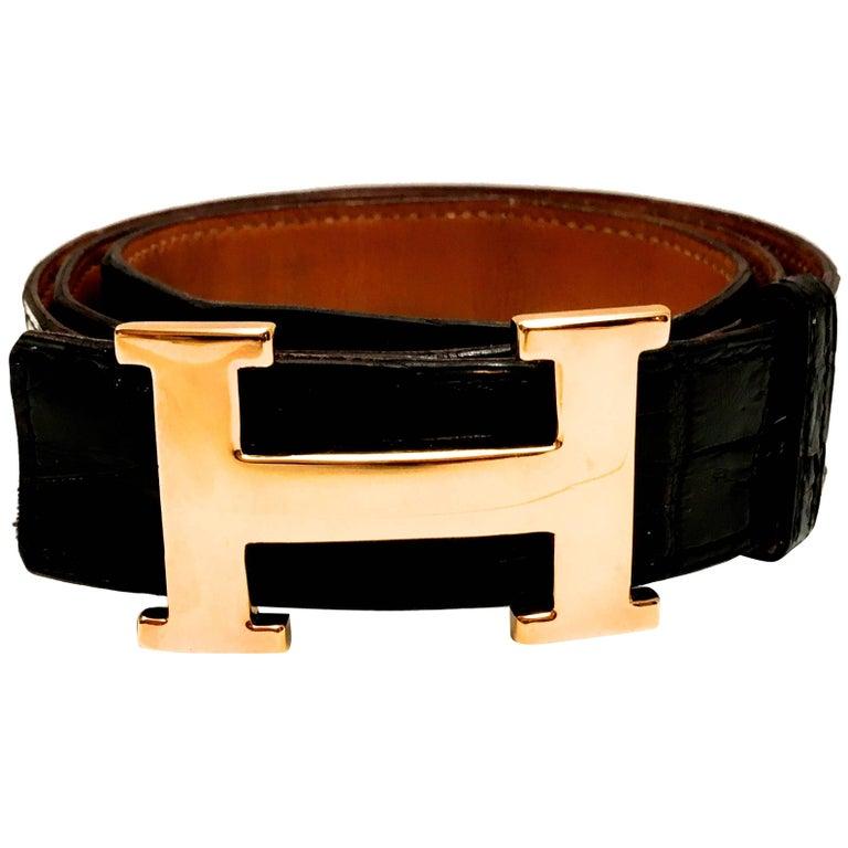 Vintage Hermes Gold Tone 'H' Crocodile Belt