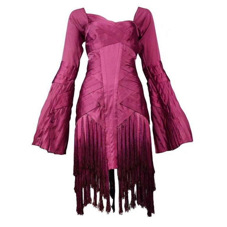 Gucci Fuchsia Tassel Dress For Sale