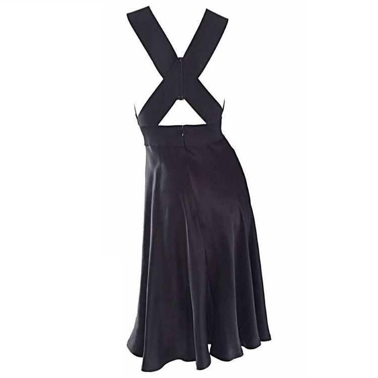 Vintage Geoffrey Beene 90s Minimalist ' Criss Cross ' 1990s Black Silk Dress