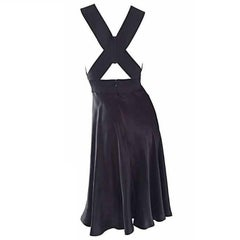 Vintage Geoffrey Beene 90s Minimalist ' Criss Cross ' 1990s Black Silk Dress