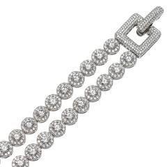 Wonderful Art Deco Style Faux Two Row Diamond Bracelet
