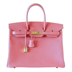 Hermes Birkin 35 Bag Rare Flamingo Pink Gold Hardware