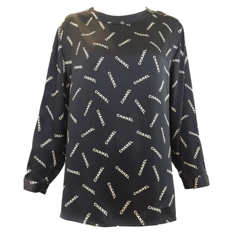 1980s CHANEL silk charmeuse blouse For Sale