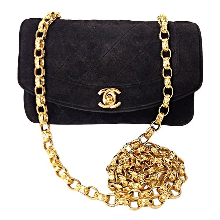 Vintage CHANEL charcoal black suede leather classic 2.55 shoulder gold chain bag For Sale