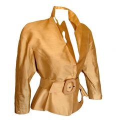 Thierry Mugler Paris Sculptural Gold Doupioni Silk Jacket + Belt Set Size 40 198