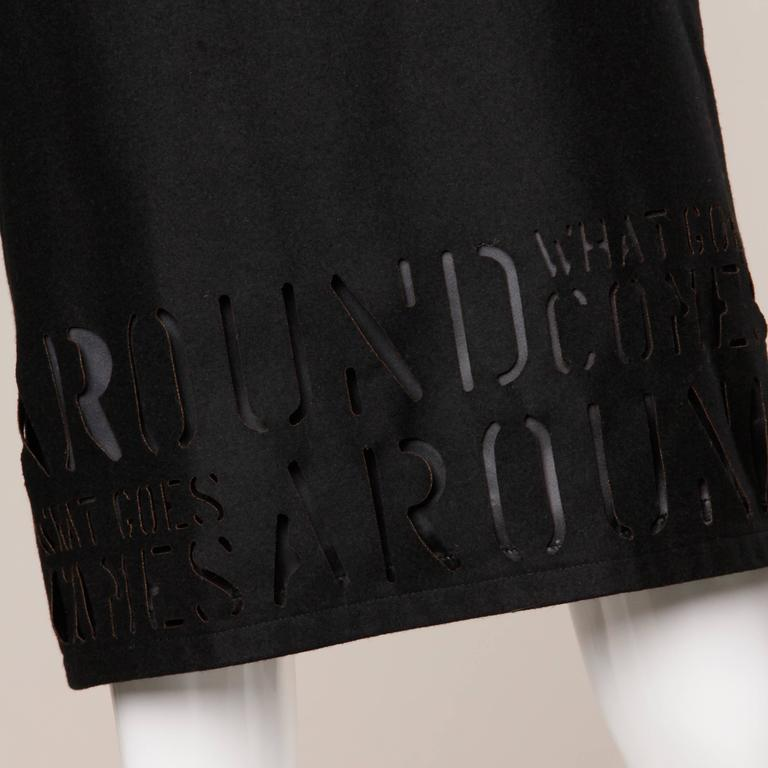 """Moschino Vintage """"What Goes Around Comes Around"""" Black Cut Out Letters Skirt For Sale 2"""