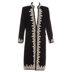 Oscar De la Renta Black Wool Cream Embroidered Open Front Coat, Fall 2001