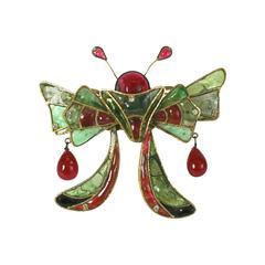 Massive Maison Gripoix  Butterfly Brooch