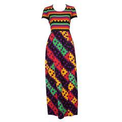 1970's Lanvin Textured Pique Cotton Geometric Print Maxi Dress w/Matching Scarf