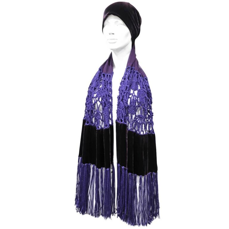 Armani multi-functional extra long velvet, crochet and chiffon scarf, c. 1990s