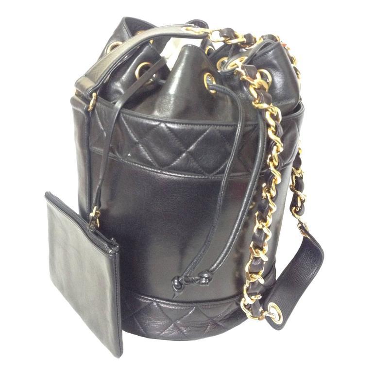 MINT. Vintage CHANEL black lambskin bucket hobo drum shoulder bag with chain