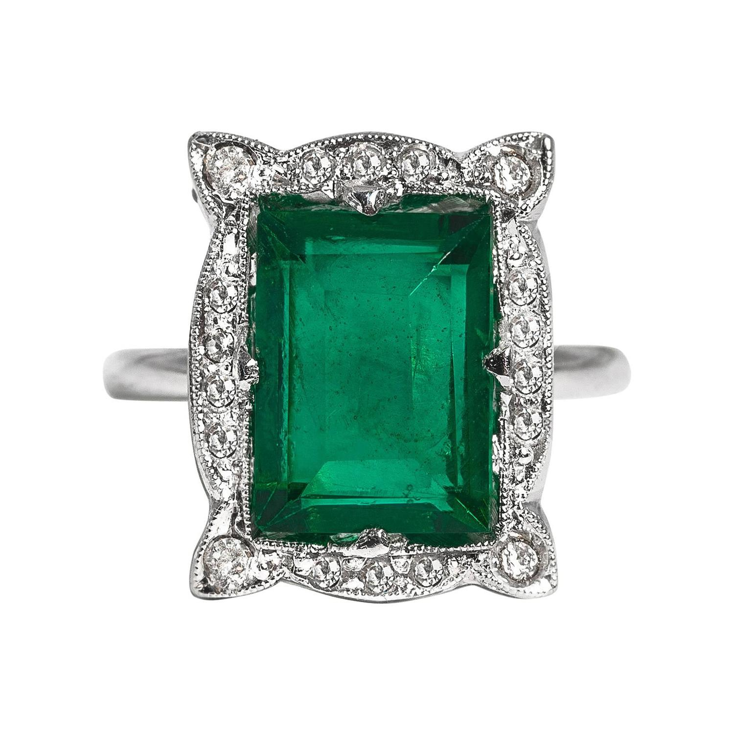 deco faux emerald sterling paste ring at