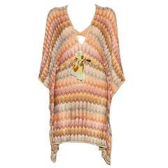 Stunning Missoni Gold Metallic Crochet Knit Kaftan Tunic Dress