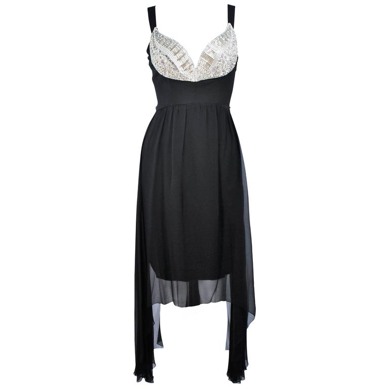 KARL LAGERFELD Black Stretch Silk Chiffon Dress with Embellished Bust Size 40