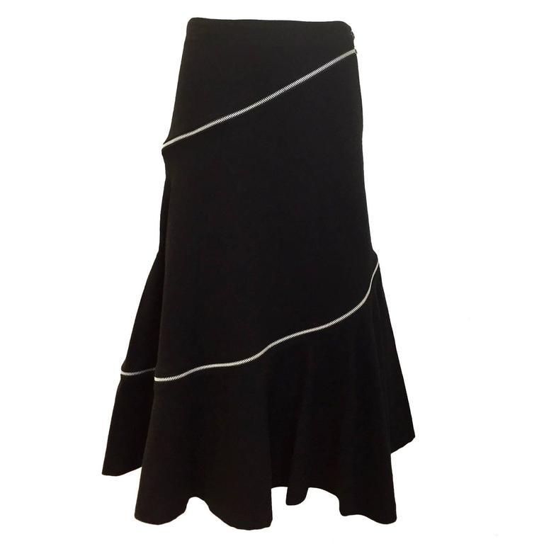 Comme des garcons black wool diagonal zipper skirt