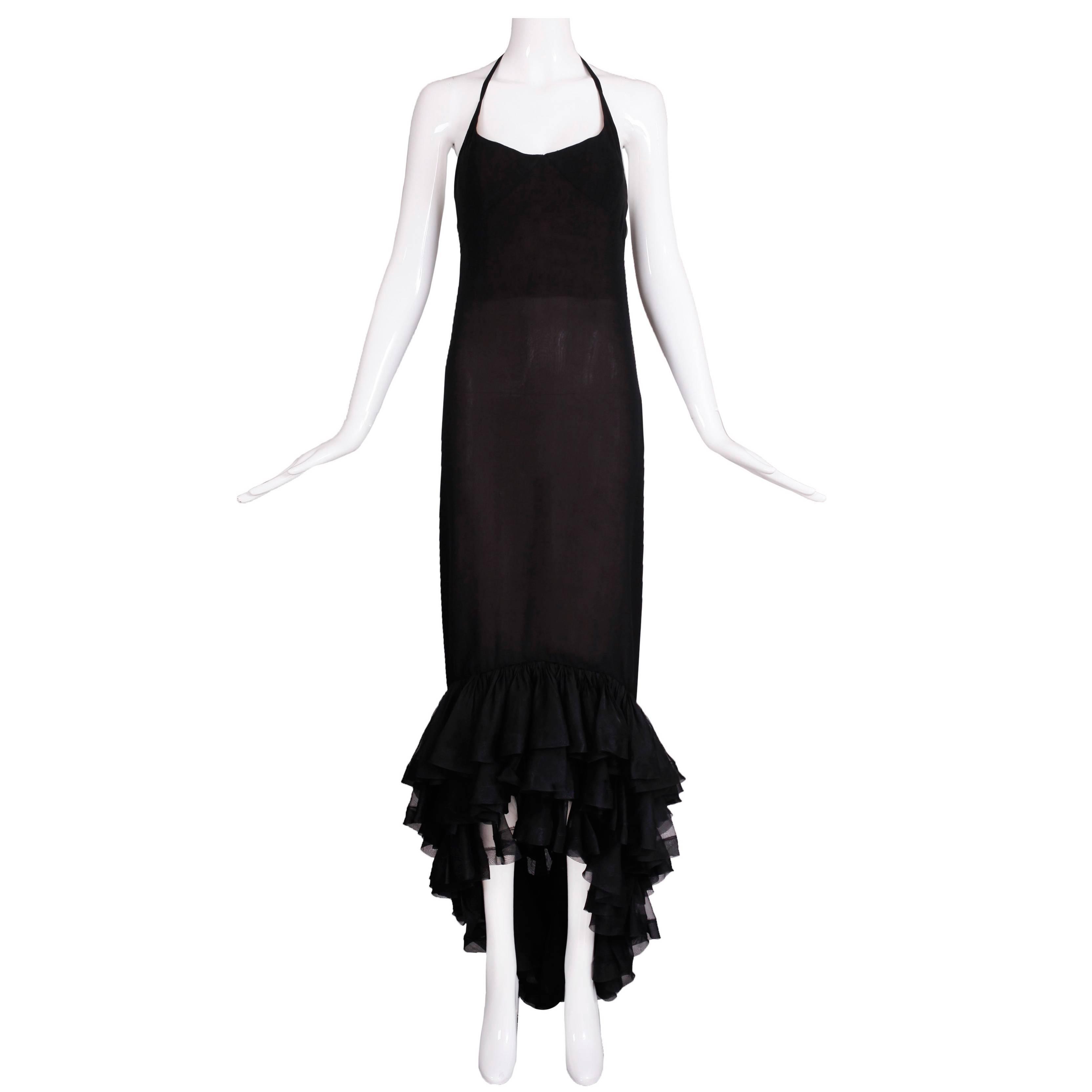 Vintage Pierre Balmain Haute Couture Black Silk Chiffon Evening Gown No.173.195