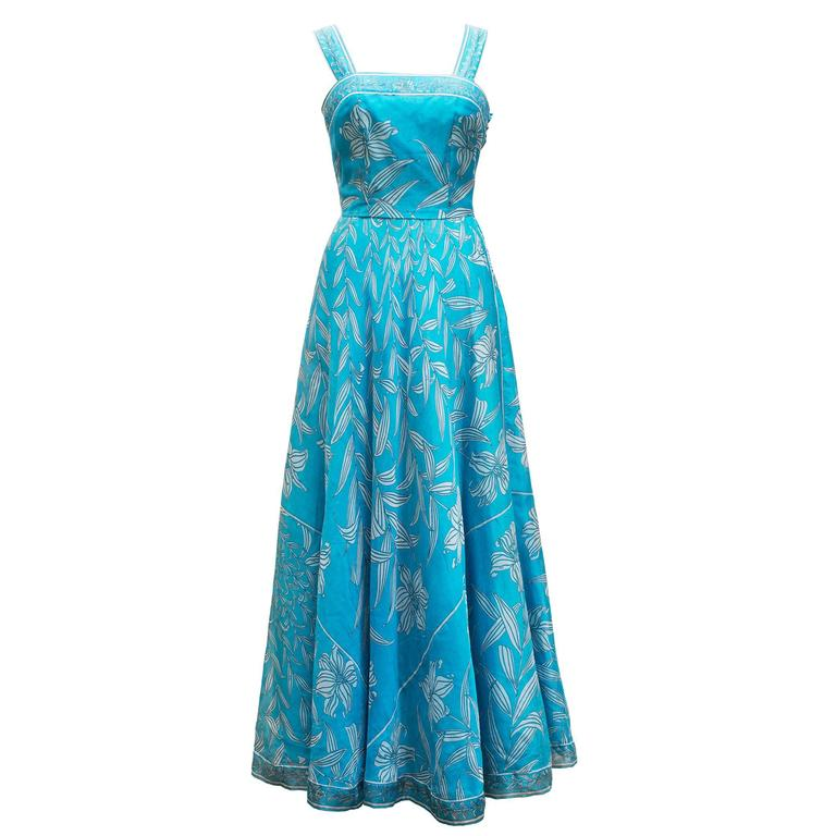 1960's Emilio Pucci Italy Divine Long Blue Organza  Dress With Mini Cap For Sale