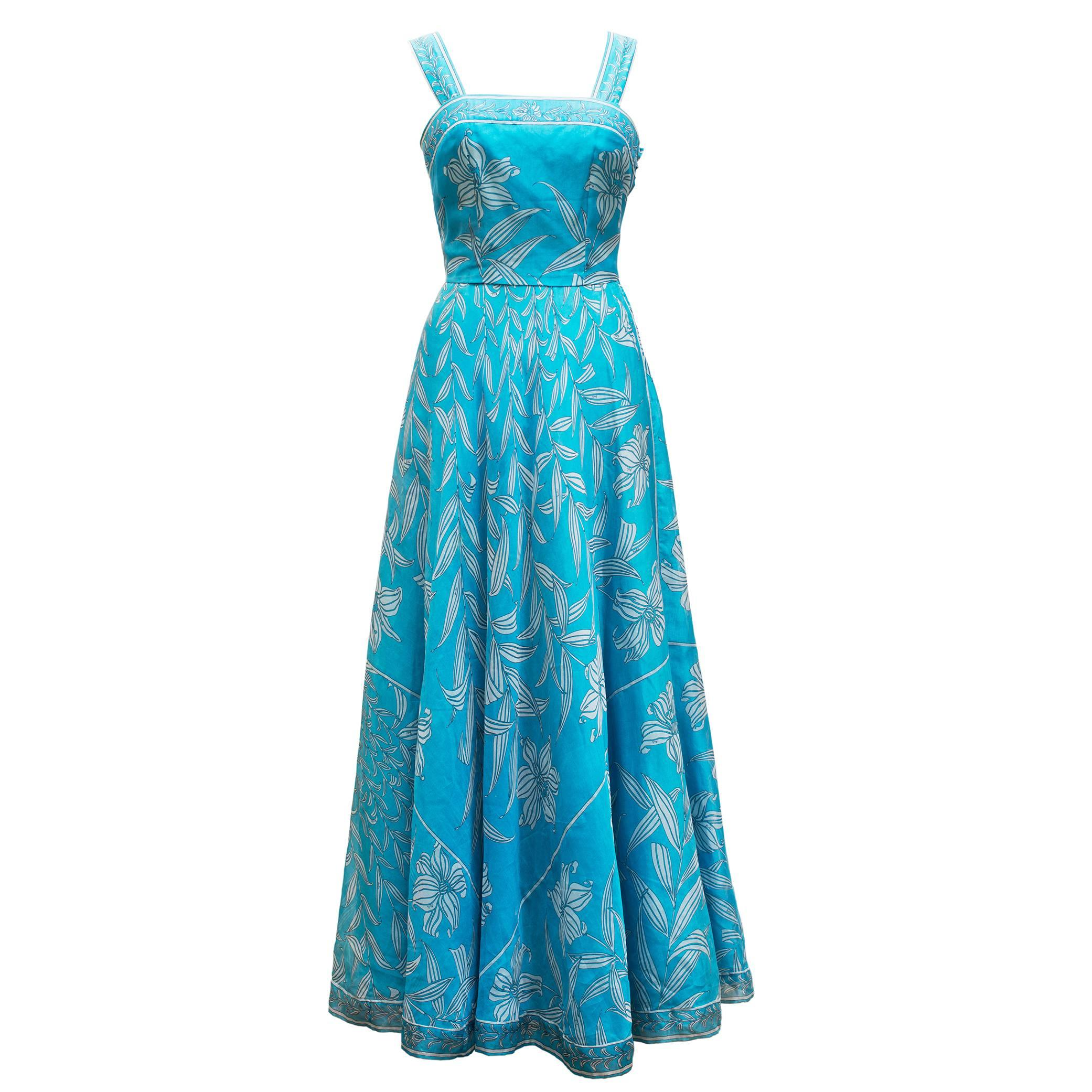 1960\'s Maisonette Couture Green and Fuschia Tiered Sequin Silk ...