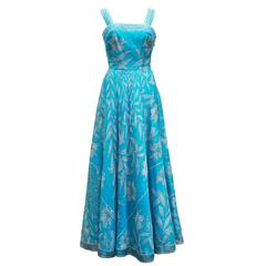 1960's Emilio Pucci Italy Divine Long Blue Organza  Dress With Mini Cap