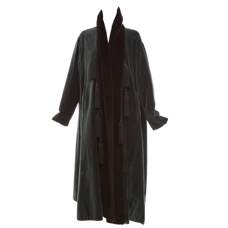 Romeo Gigli Velveteen Swing Coat With Embellished Tassels, Circa 1980's