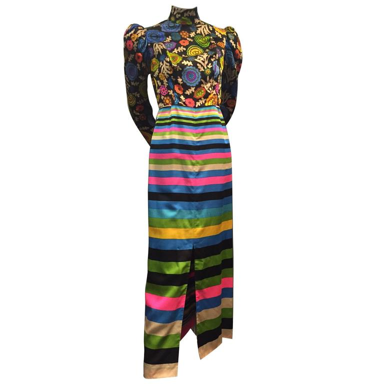1960s Lanvin Polished Cotton Maxi in Vivid Stripes and Florals 1