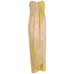 2003 Alexander McQueen Silk Printed Strapless Draped Column Evening Gown