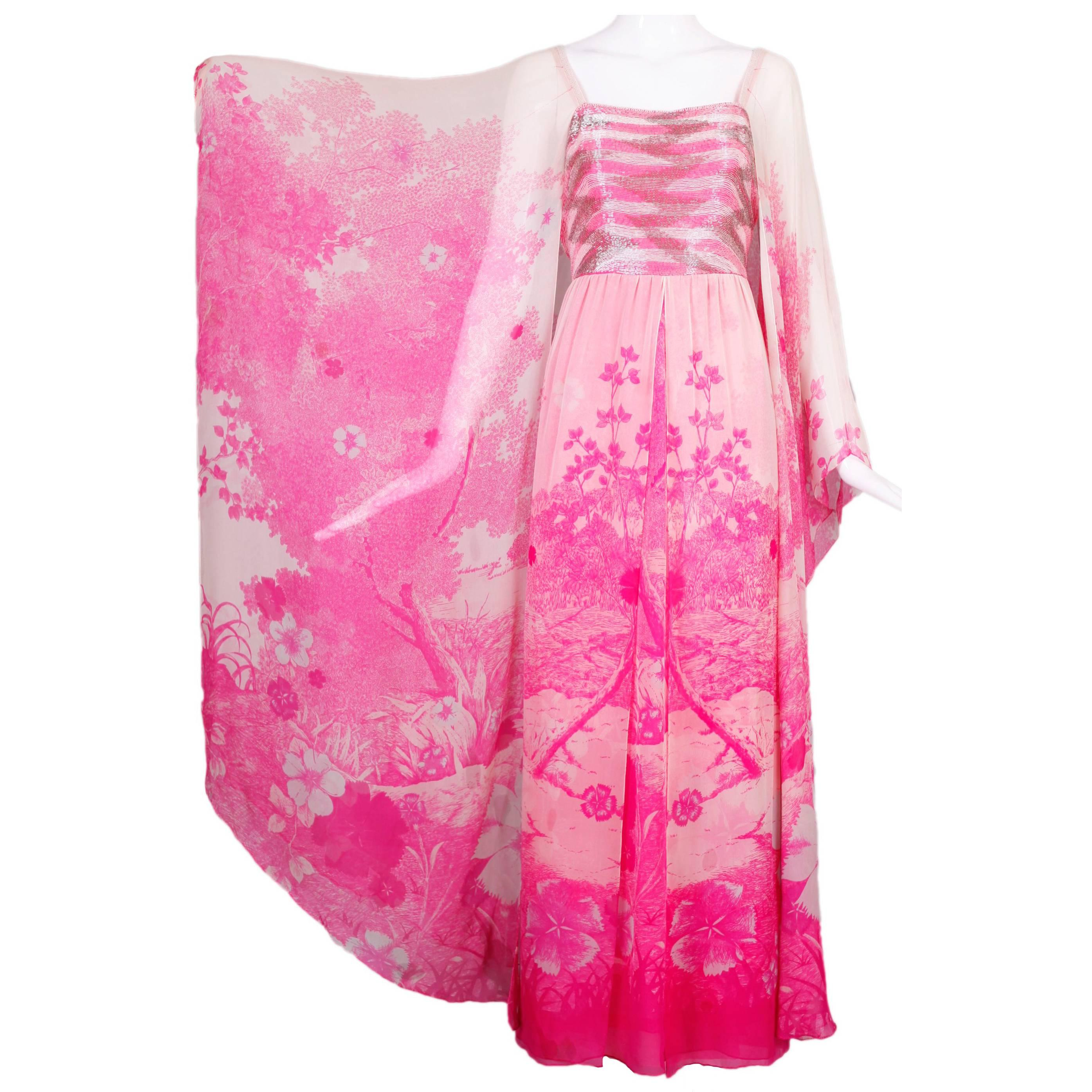 1970's Hanae Mori Couture Pink Chiffon Beaded Floral Print Evening Gown