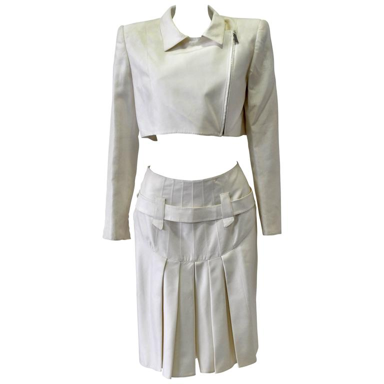 Very Rare Claude Montana Zip Space Age Inspired Skirt Suit For Sale