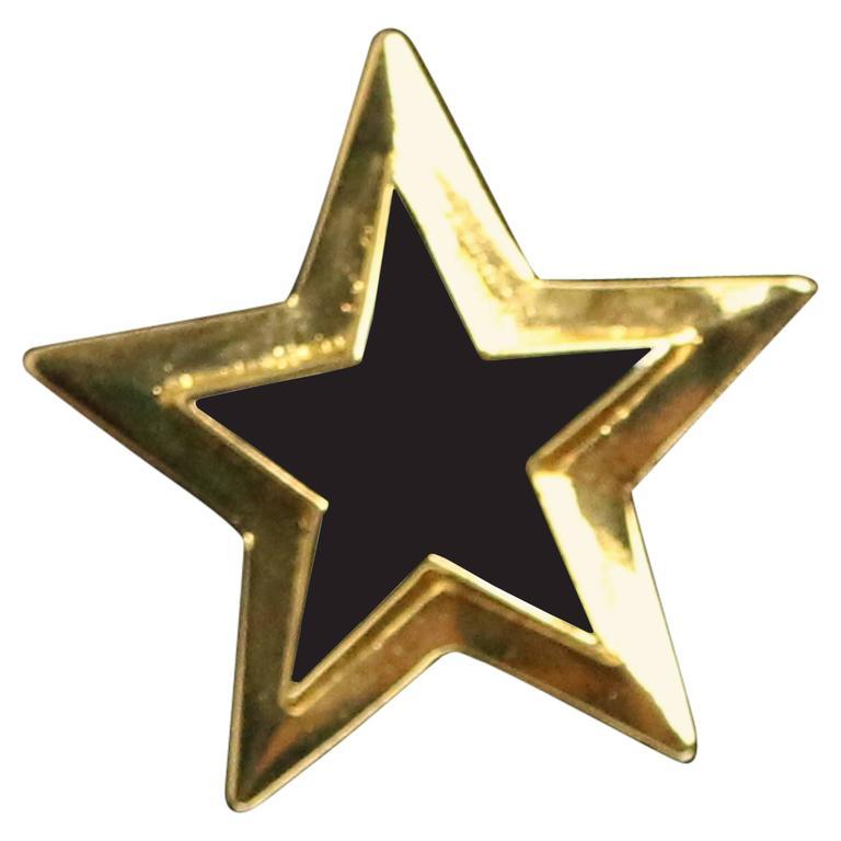 Escada Gold/Black Star Brooch  For Sale