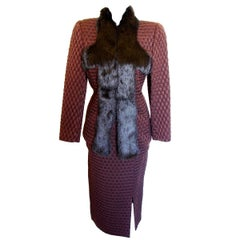 John Galliano Textured Silk + Wool Skirt Suit with Rex Rabbit Fur Trim Size 6