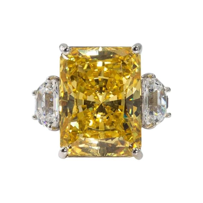 Magnificent Faux Canary Yellow 25 Carat Radiant Cut