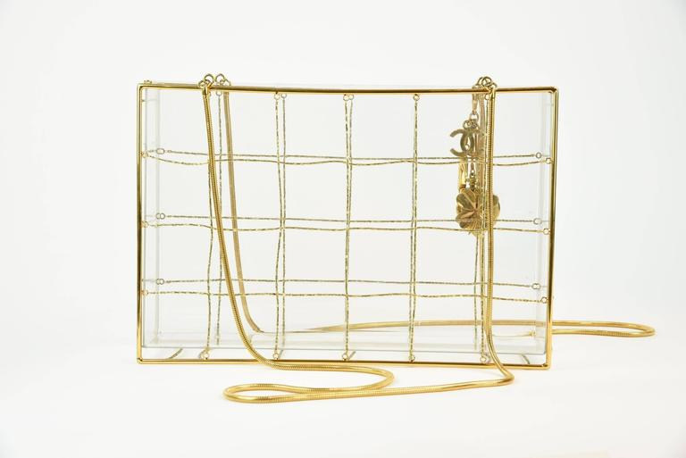 "Chanel 97P Gold Frame Lucite Shoulder Bag W/ Gold Bead Horizontal ""Quilting""  5"