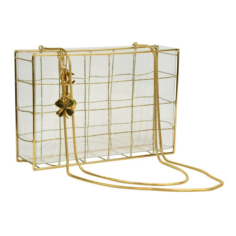 "Chanel 97P Gold Frame Lucite Shoulder Bag W/ Gold Bead Horizontal ""Quilting""  1"