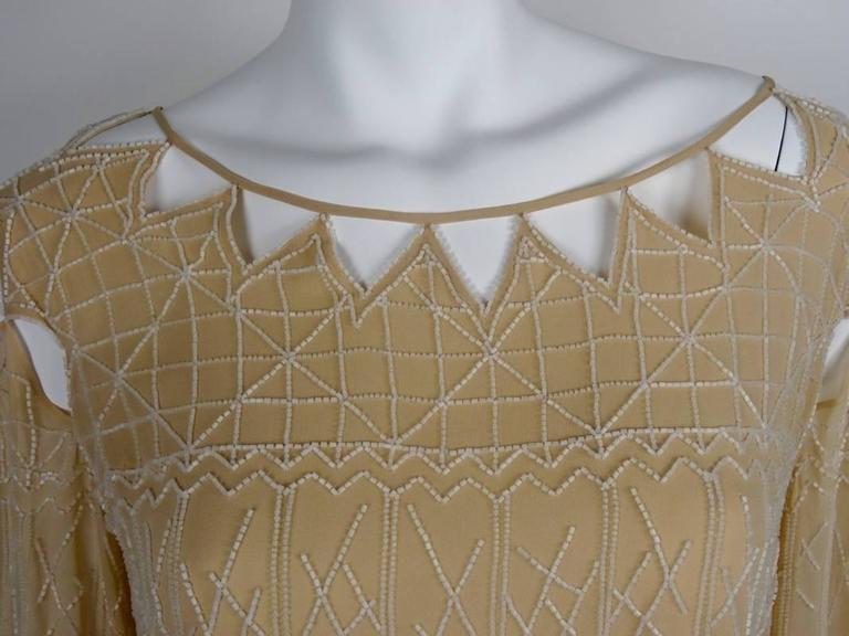 Chanel 99A Lesage White Beaded Beige Silk Blouse with Triangular Cut-outs FR44 6