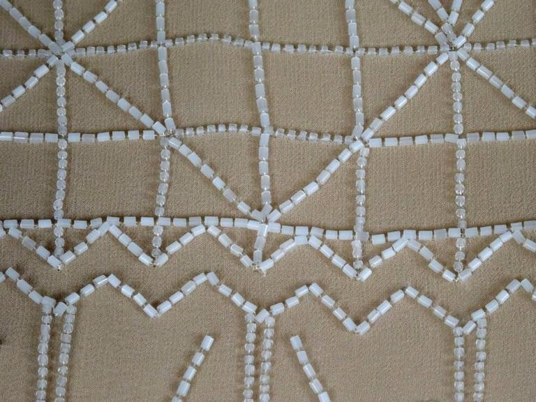 Chanel 99A Lesage White Beaded Beige Silk Blouse with Triangular Cut-outs FR44 9