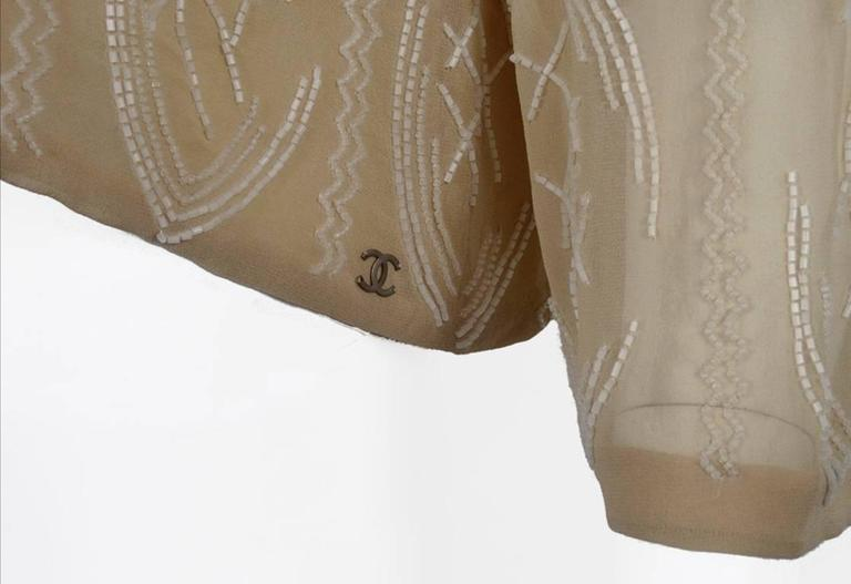 Chanel 99A Lesage White Beaded Beige Silk Blouse with Triangular Cut-outs FR44 7