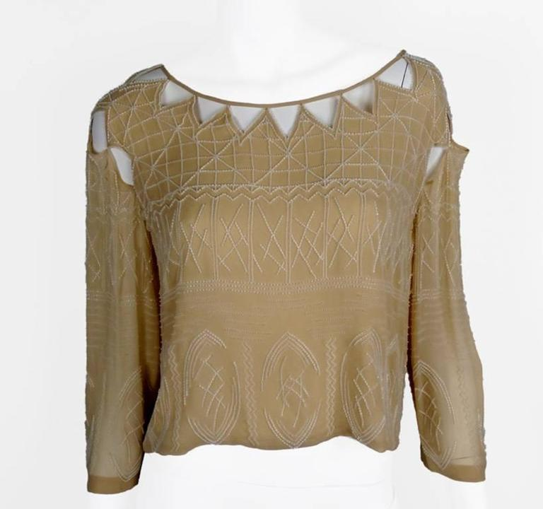 Chanel 99A Lesage White Beaded Beige Silk Blouse with Triangular Cut-outs FR44 3